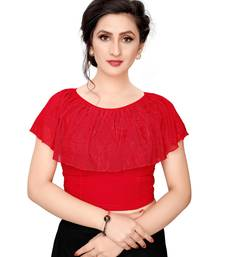 Women's Red Cotton Stretchable Readymade Blouse