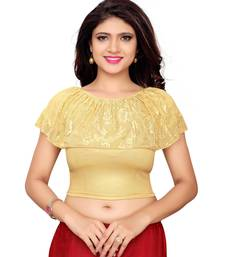 Women'S Golden Shimmer Stretchable Readymade Blouse