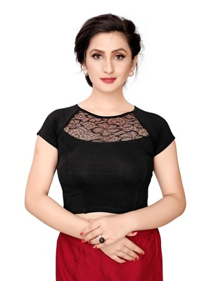 Women'S Black Cotton Stretchable Readymade Blouse