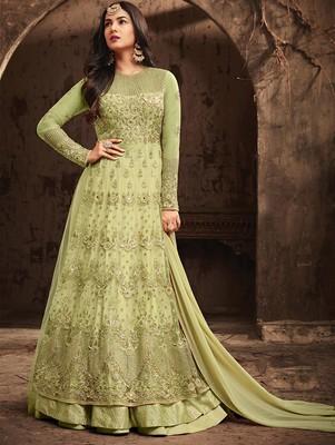 Light Green Heavy Vaishnavi Net Anarkali Suit