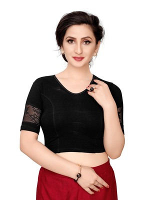 Women's Black Cotton Stretchable Readymade Blouse