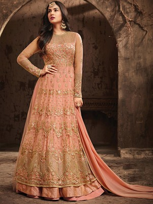 Salmon Color Heavy Vaishnavi Net Anarkali Suit