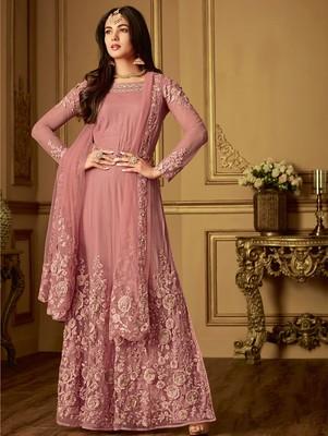 Dark Pink Designer Embroidered Anarkali Suit