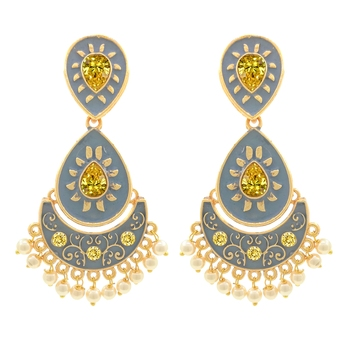 Gold Plated Meenakari Traditional Dangler Chandbali Pearl Earring