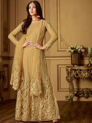 Light Golden Designer Embroidered Anarkali Suit