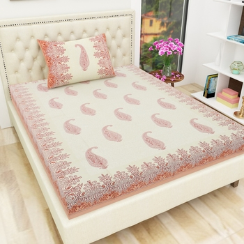 Cotton TC120 Hand Block Printed Ethnic Motif Single Bedsheet with One Pillow Cover
