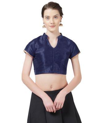 Navy Blue Woven Design Art Silk blouse