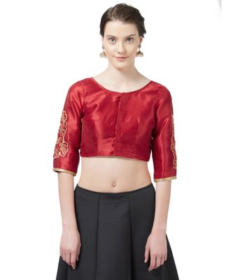 Red Woven Design Art Silk Embroidered blouse