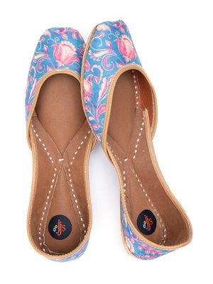 Noon Blue Turquoise Ethnic Leather Juttis for Women