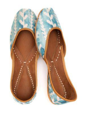 Women's Glory Mint Wash genuine Leather Juttis