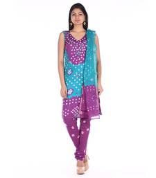 Purple and Green Cotton Unstitched Bandhej Dress Material