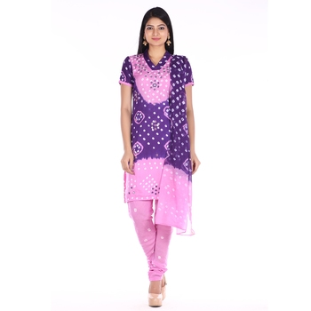 Pink and Purple Cotton Unstitched Bandhej Dress Material