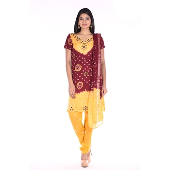 Yellow and Maroon Cotton Unstitched Bandhej Dress Material