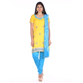 Yellow and Blue Cotton Unstitched Bandhej Dress Material