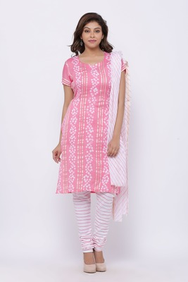 Peach Cotton Unstitched Bandhej Dress Material