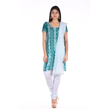 Sea Green Cotton Unstitched Bandhej Dress Material