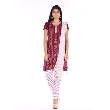 Maroon Cotton Unstitched Bandhej Dress Material