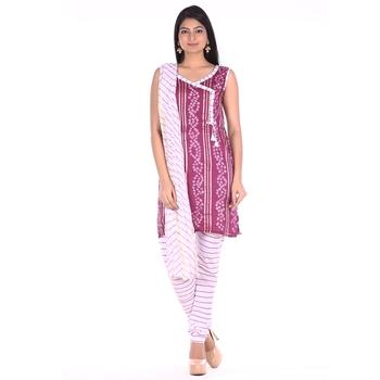 Wine Cotton Unstitched Bandhej Dress Material
