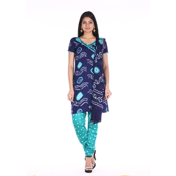 Navy Blue and Green Cotton Unstitched Bandhej Dress Material
