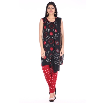 Red and Black Cotton Unstitched Bandhej Dress Material