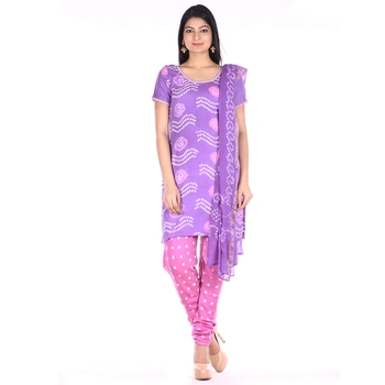 Purple and Pink Cotton Unstitched Bandhej Dress Material