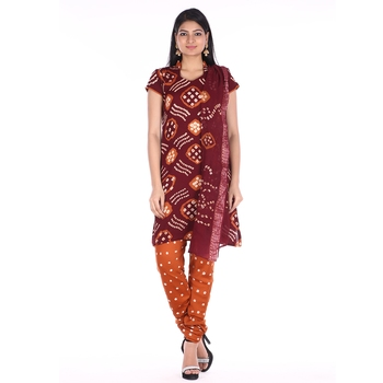 Maroon and Orange Cotton Unstitched Bandhej Dress Material