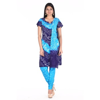 Blue Shaded Cotton Unstitched Bandhej Dress Material