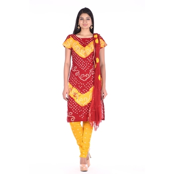 Yellow and Red Cotton Unstitched Bandhej Dress Material