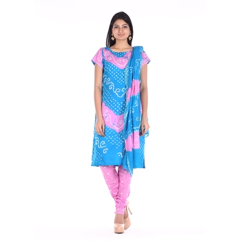 Pink and Blue Cotton Unstitched Bandhej Dress Material