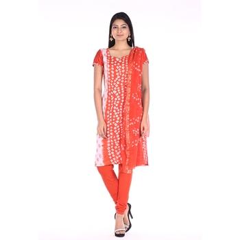 Orange Cotton Unstitched Bandhej Dress Material