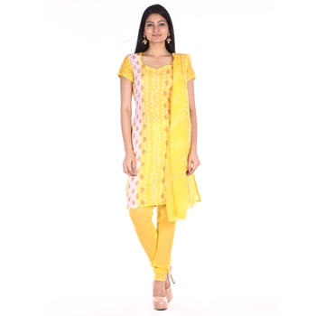 Lemon Yellow Cotton Unstitched Bandhej Dress Material
