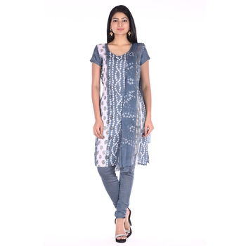 Grey Cotton Unstitched Bandhej Dress Material