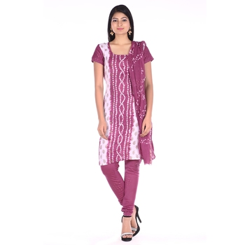 Wine Cotton Unstitched Bandhej Dress Material