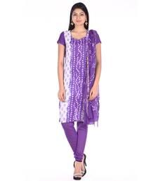 Purple Cotton Unstitched Bandhej Dress Material