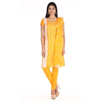 Yellow Cotton Unstitched Bandhej Dress Material