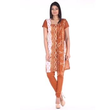 Brown Cotton Unstitched Bandhej Dress Material