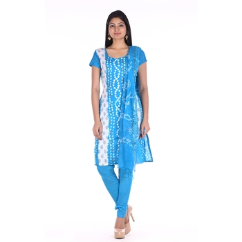 Aqua Blue Cotton Unstitched Bandhej Dress Material