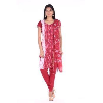 Red Cotton Unstitched Bandhej Dress Material