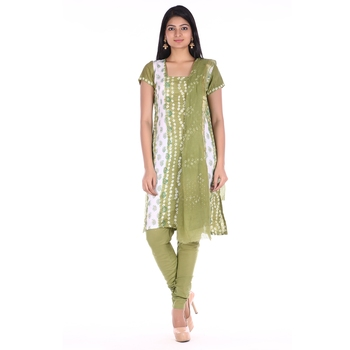 Mehendi Green Cotton Unstitched Bandhej Dress Material