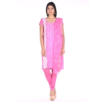 Pink Cotton Unstitched Bandhej Dress Material