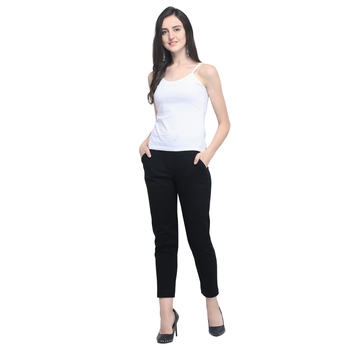 Black Cotton Solid Casual Wear Trouser/Pant
