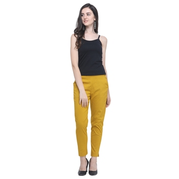 Mustard Cotton Solid Casual Wear Trouser/Pant