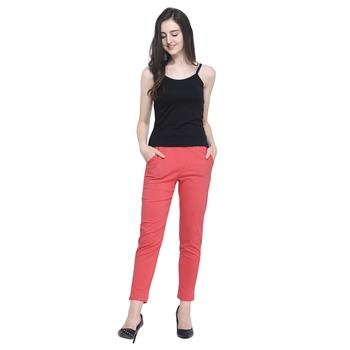Peach Cotton Solid Casual Wear Trouser/Pant