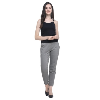 Grey Cotton Solid Casual Wear Trouser/Pant
