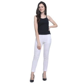 White Cotton Solid Casual Wear Trouser/Pant