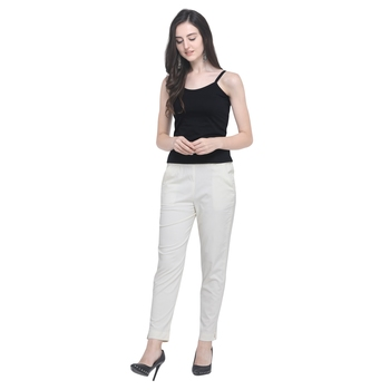 Off White Cotton Solid Casual Wear Trouser/Pant