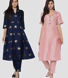 Combo Of Two Solid And Foil Print Kurtis