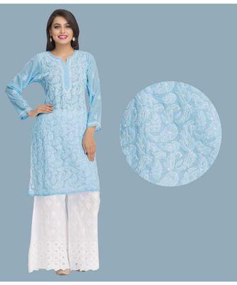 Ada Blue Faux Georgette Embroidered Lucknowi Chikankari Stitched Kurti