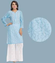Ada blue faux georgette embroidered lucknowi chikankari stitched kurti
