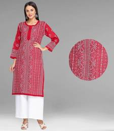 Ada Hand Embroidered Maroon Cotton Lucknowi Chikan Kurti -A374705